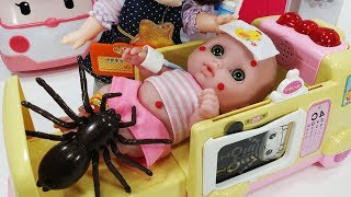 Baby doll spider bitten and Ambulance Doctor hospital toys pororo play - 토이몽