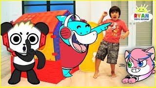 Ryan Pretend Play hide and Seek in Playhouse with Combo Panda Alpha Lexa and Big Gil!