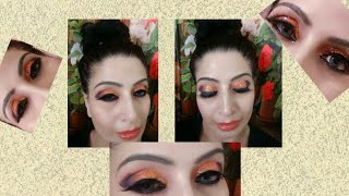 Super Dramatic Orange Glittery Eyes For Cocktail Parties.😍😍very Easy Eye Makeup.tips And Tricks.🤗