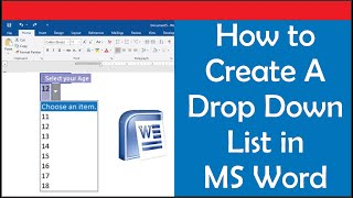 How to Create A Drop Down list in Word: Edit a drop down list & Delete a Drop down list in MS Word