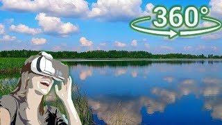 Панорамное Видео 360 VR 4K для очков виртуальной реальности. Летняя прогулка вдоль озера. Релакс.