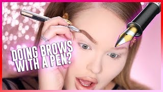 I TRIED DOING MY BROWS WITH A PEN?? OMG!