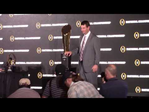 TigerNet.com - Dabo Swinney poses with National Championship trophy