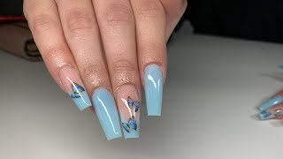 Blue Pastel Deep French Butterfly Foil Acrylic Nails