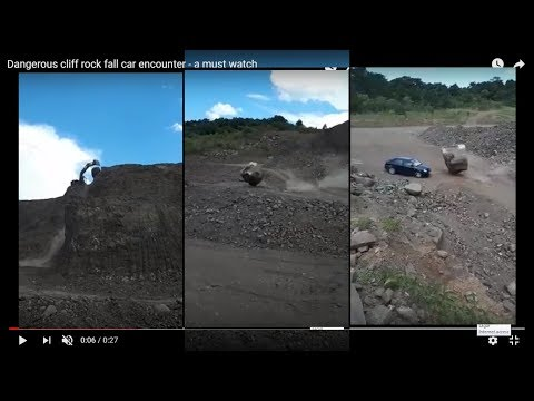 Dangerous Cliff Rock Fall Car Encounter - A Must Watch