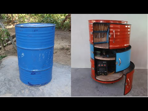 Reuse Old Oil Drum As Mobile Tool Cabinet   Build Tool Storage From Old Oil Drum