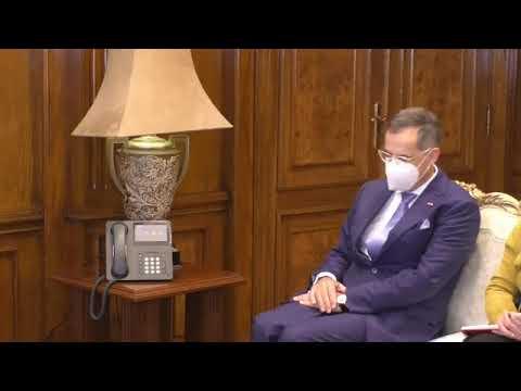 لقاء السيدة/نيفين جامع وزيرة التجارة والصناعة مع السيد/ بول جارنييه، سفير سويسرا في مصر