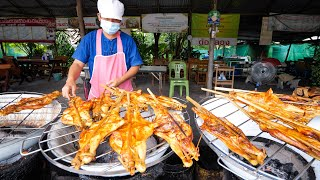 Thai Street Food - GRILLED CHICKEN Basin BBQ!! 🐓 🍗 Most FAMOUS Grilled Chicken in Thailand!!