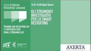 Youtube: Digital Speech | GLI STRUMENTI INVESTIGATIVI PER LO SMART RECRUITING | Forum delle Risorse Umane 2020 | Training & Recruiting Day