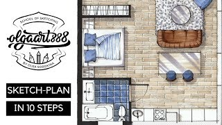✍🏼SKETCH-PLAN IN 10 EASY STEPS: Interior Design Drawing With Markers