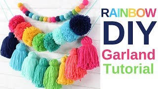 DIY How To Make An Oversized Yarn Tassel Garland