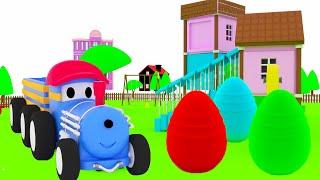 Яйца с сюрпризом + Животные - учим вместе с Поездом Тедом | Обучающий мультик для детей