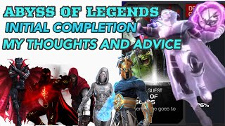 Lets talk about the Abyss of Legends. Initial Completion Thoughts, Review, and Advice  | MCOC LIVE