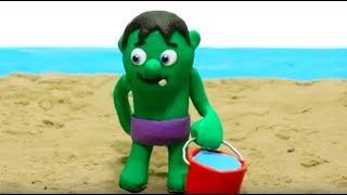 SUPERHERO BABY ON THE BEACH! Play Doh Stop Motion and Cartoons For Kids 💕 Superhero Babies