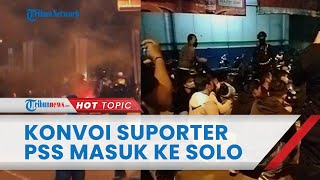 Detik-detik Konvoi Ratusan Suporter PSS Sleman Terobos Pintu Masuk Solo, Aparat Dilempari Batu
