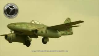 Messerschmitt Bf (Me) 109 and Me 262 over Augsburg. Die Rote Sieben und die Me 262 über Augsburg.