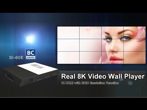 十二螢幕輸出8K/12K電視牆專用數位看板播放器
