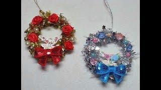 "DIY~ Beautiful & Inexpensive ""Dollar Tree"" Mini Garland Ornament Wreaths! | Kholo.pk"