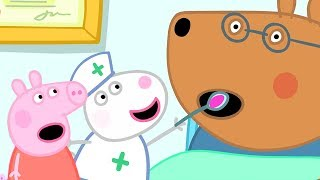 Peppa Pig English Episodes | Looking after Doctor Brown Bear | Peppa Pig Official ☆ Subscribe for more videos: http://bit.ly/PeppaPigYT  ☆ Watch more Peppa Pig  - https://www.youtube.com/playlist?list=PLFEgnf4tmQe_L3xlmtFwX8Qm5czqwCcVi  Welcome to the Official Peppa Pig channel and the home of Peppa on YouTube!  We have created a world of Peppa with episodes and compilations to keep even the most dedicated Peppa fans happy.  Enjoy and don't forget to subscribe.  ☆ Like Peppa Pig on Facebook: http://bit.ly/PeppaPigFB ☆ Watch more: http://bit.ly/PeppaPigYTEps ☆ Visit our official website:http://bit.ly/PeppaPigWebsite ☆ Follow Peppa on Twitter: http://bit.ly/PeppaPigTwitter  PEPPA PIG © ASTLEY BAKER DAVIES LTD/ENTERTAINMENT ONE UK LTD 2003. Peppa Pig created by Mark Baker and Neville Astley.  #Peppa #PeppaPig #PeppaPigEnglish