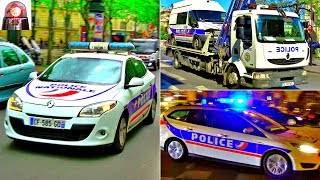 Police Cars Responding Lights Sirens in Paris // Voitures, Motos de Police - Compilation