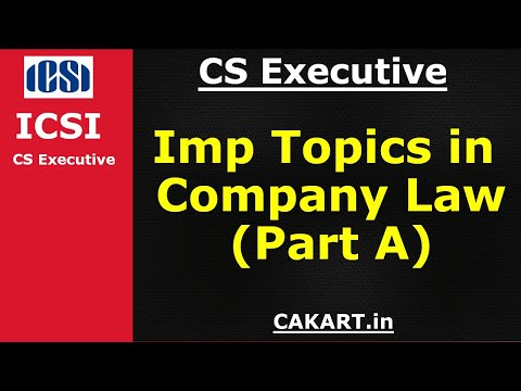 CS Executive company law important topics & questions