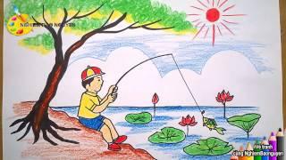 Vẽ tranh Bé câu cá/How to Draw Baby Fishing