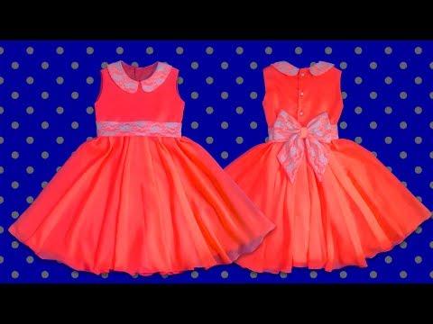 Cómo hacer un vestido de niña forrado (patrones) | How to make a girl dress
