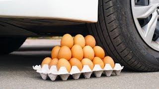 Crushing Crunchy & Soft Things by Car! EGGS, APPLE,  SUGAR