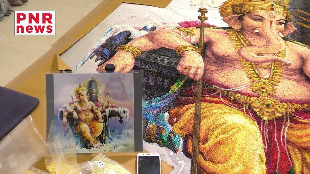 portrait rangoli design ganesha by mohan kumar