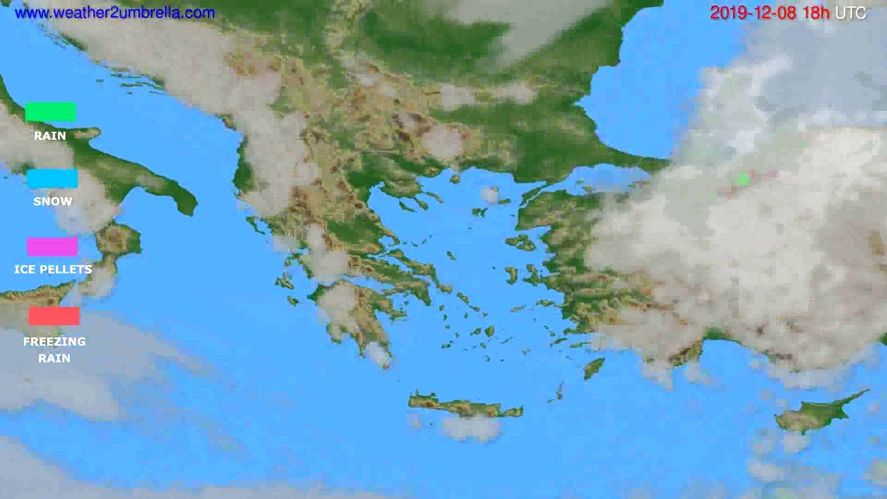 Precipitation forecast Greece // modelrun: 12h UTC 2019-12-06