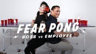 Boss & Employee Play Fear Pong (Nicole vs. Eduardo) | Fear Pong | Cut