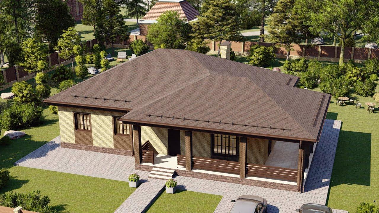 Проект одноэтажного коттеджа 140 м2 с большой террасой