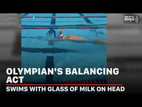 Viral Video: Olympic Champion Swims While Balancing Glass Of Milk On Head | NDTV Beeps