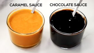 Chocolate Syrup (with powder) & Caramel Sauce Recipe - 2 Easy Syrups - CookingShooking