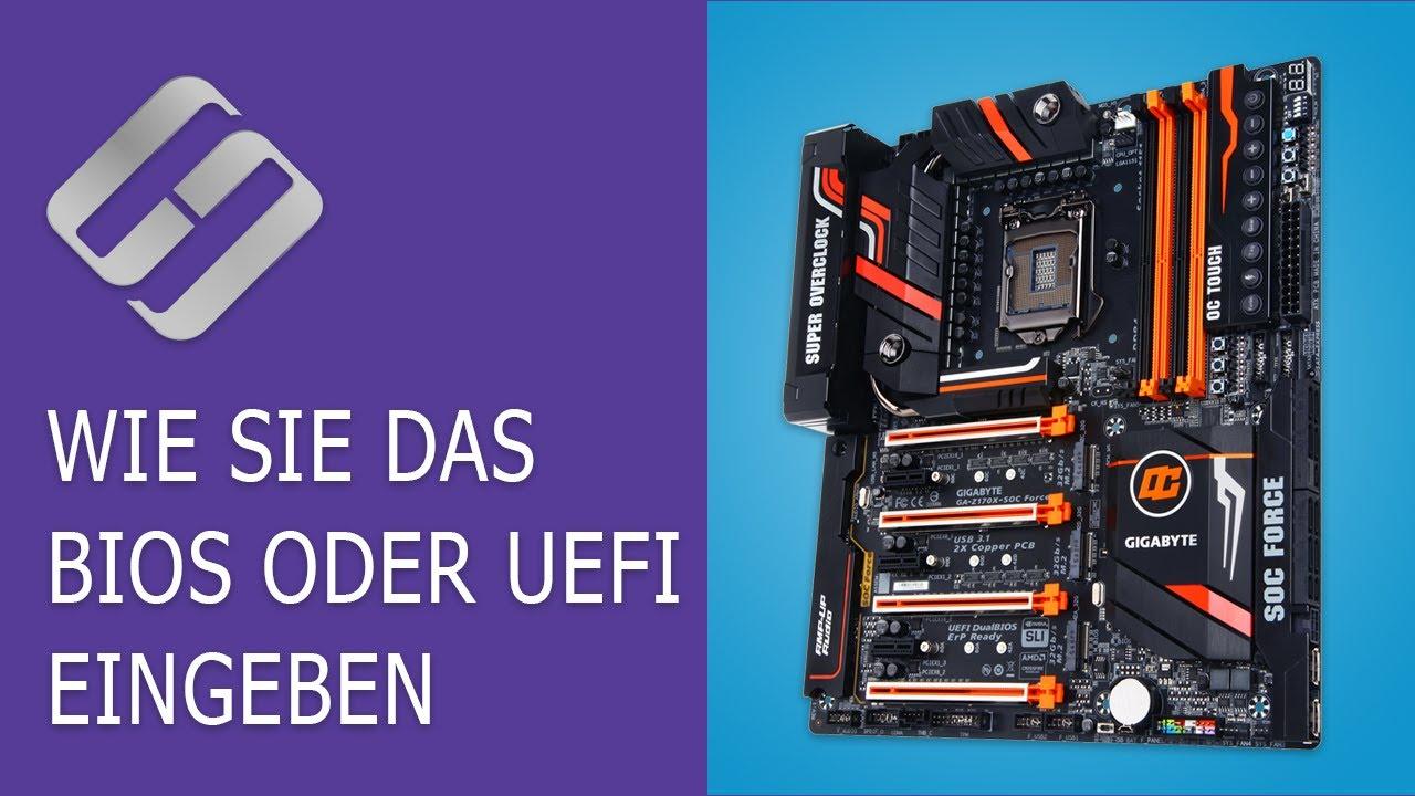Wie ruft man das BIOS oder UEFI auf und laden einen PC von einem USB, oder DVD