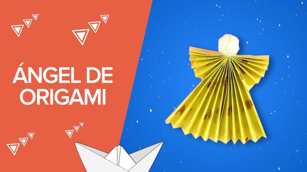 Ángel de origami | Manualidades navideñas con papel
