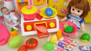 baby doll kitchen and surprise eggs cooking toys play
