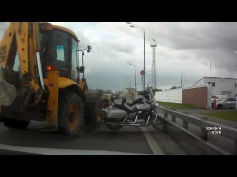 Столкновение трактора и мотоцикла