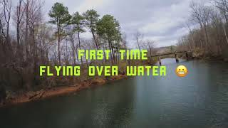 First time flying FPV drones over water .