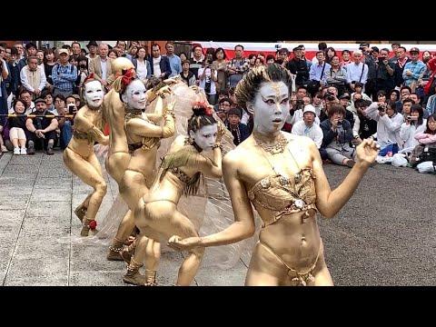 【金粉ショー】2019年大須大道町人祭・金粉ショウ大駱駝艦ノーカット版【名古屋】 golden powder bodypainting dance show , Osu Nagoya Japan.