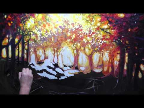 Painting Demonstration by Gill Bustamante of an Autumn trees landscape