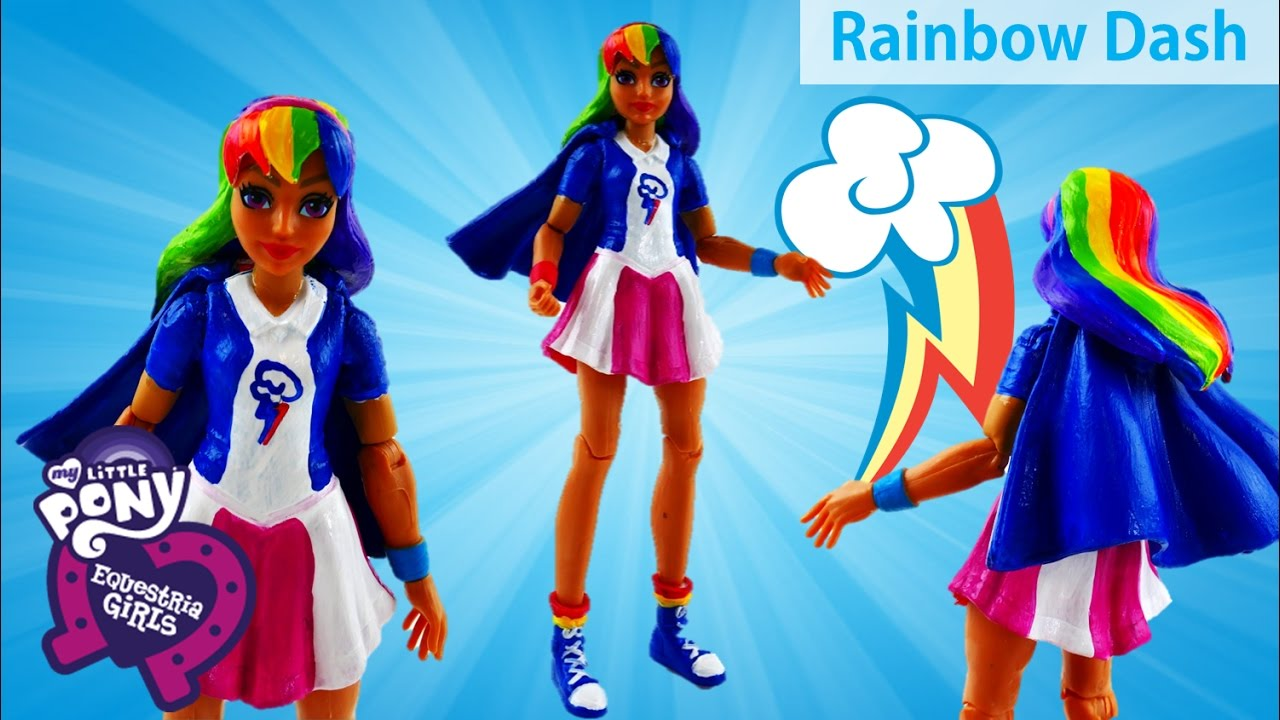 DC Super Hero Girls Supergirl Transforms into My Little Pony Rainbow Dash Doll Custom Makeover