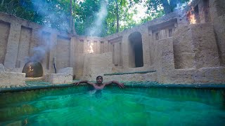 Build Underground Bamboo Jacuzzi For Secret Underground Temple Cabin Shelter By Jungle Survival