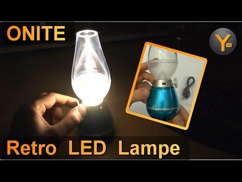 Onite Retro LED USB Tischlampe mit Dimmer / Nostalgie Laterne mit Akku für Camping, Zelten