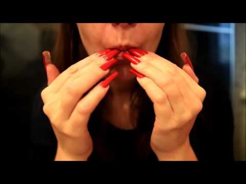 LongNailsQueen tapping and licking her red long nails ( ДЛИННЫЕ КРАСНЫЕ НОГТИ )