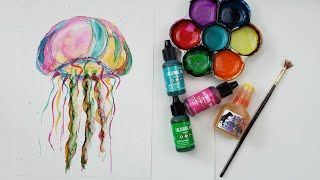 How To Paint A Colorful Jellyfish In Alcohol Ink