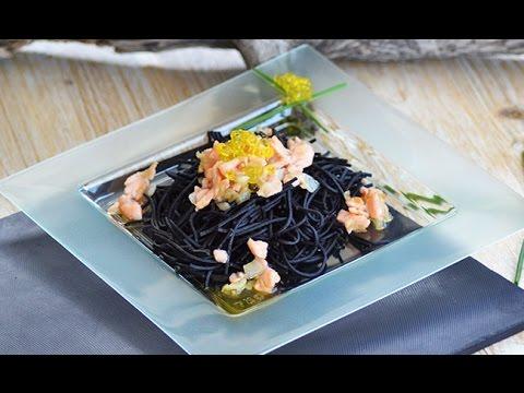 Receta Tagliatelle con caviar de aceite de oliva y salmón ahumado