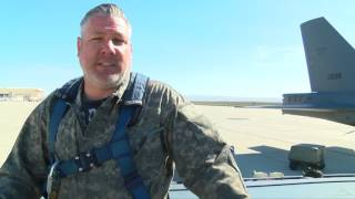 Aerial drone footage of B52 Bomber