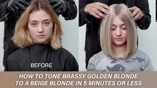 How To Tone Brassy Golden Blonde To A Beige Blonde In 5 Minutes Or Less | Kenra Color