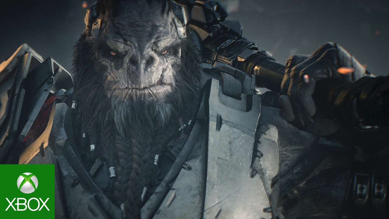 close up shot of Atriox carrying weapon on shoulder